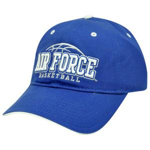 HAT CAP NCAA AIR FORCE FALCONS BASKETBALL BLUE WHITE GARMENT WASH GAME LICENSED