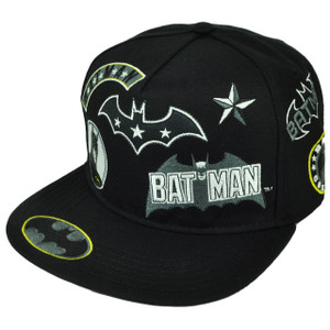 Batman Cartoon Flat Bill Snapback Black Super Hero Movie DC Comics Warner Bros