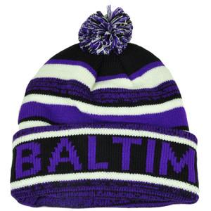 Baltimore Pom Pom Cuffed Toque Purple White City State Town Beanie Knit Striped