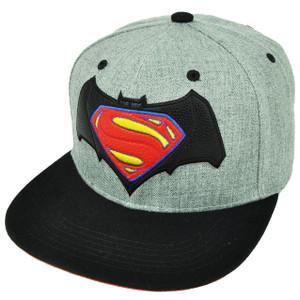 Batman Vs Superman Dawn of Justice Super Hero Movie Snapback Hat Cap Gray Black