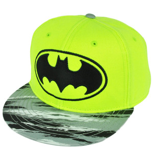 Batman Neon Yellow Fluorescent Snapback Hat Cap  Flat Bill Super Hero Cartoon