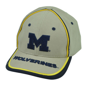 NCAA Michigan Wolverines Beige Sun Buckle Hat Cap Adjustable Sport Signatures