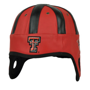 NCAA Texas Tech Red Raiders Helmet Head Game Day Faux Leather Black Hat Cap