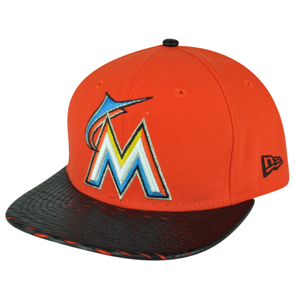 MLB New Era 9Fifty 950 Leather Rip Miami Marlins Snapback Hat Cap Flat Bill 76bb8eac1