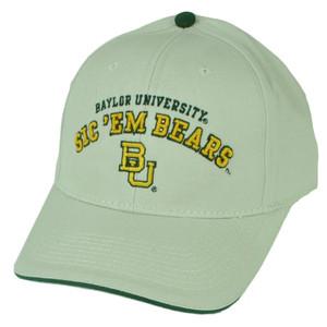 NCAA Baylor Bears Beige Sic Em Sun Buckle Hat Cap Sports Adjustable BU Green