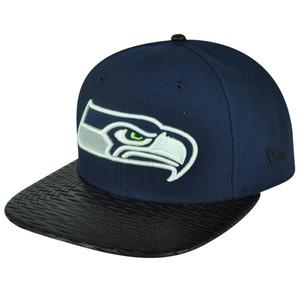 NFL New Era 9Fifty 950 Leather Rip Seattle Seahawks Snapback Hat Cap Flat Bill