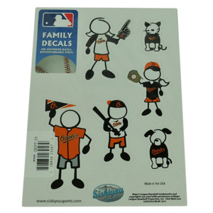 MLB Baltimore Orioles Family Decal Set Car Fan Repositionable Vinyl Automobile