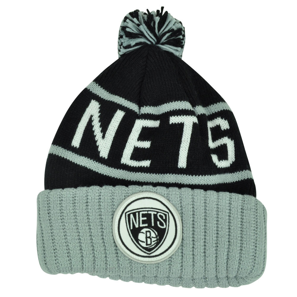 4526797c286 NBA Mitchell Ness KJ58 Brooklyn Nets Cuffed Pom Pom Knit Beanie Skully Hat  Grey
