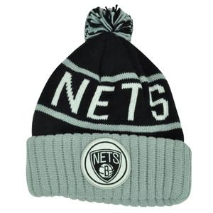 NBA Mitchell Ness KJ58 Brooklyn Nets Cuffed Pom Pom Knit Beanie Skully Hat Grey