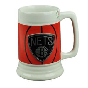 NBA Brooklyn Nets Ceramic Coffee Mug Cup Gameball Fan Basketball Beverage Drink