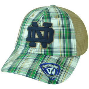 NCAA Notre Dame Fighting Irish Avery 2 Tone Plaid Mesh Trucker Snapback Hat Cap