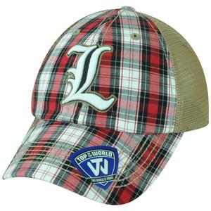 NCAA Louisville Cardinals Avery 2 Tone Plaid Trucker Snapback Adjustable Hat Cap