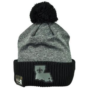 NFL New Era Black Gray Sport Knit Beanie Cuffed Pom Pom New Orleans Saints Hat
