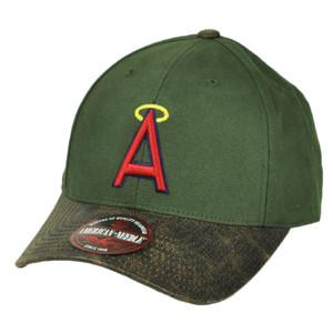 MLB  Los Angeles Angels Leather Sun Buckle Hat Cap American Needle Green Sport