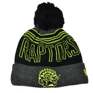 NBA New Era Winter Blaze Pom Pom Cuffed Knit Beanie Toronto Raptors Hat Black