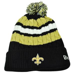 NFL New Era Wintry Warm Womens Knit Beanie Striped Cuffed New Orleans Saints Hat