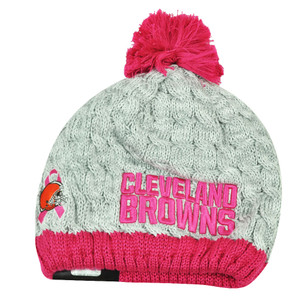 NFL New Era Breast Cancer Awareness Knit Beanie Cleveland Browns Grey Pink Women