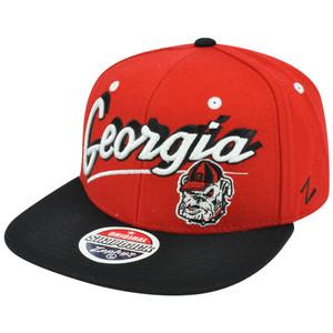 NCAA Zephyr Shadow Script Georgia Bulldogs Flat Brim Original Snapback Hat Cap