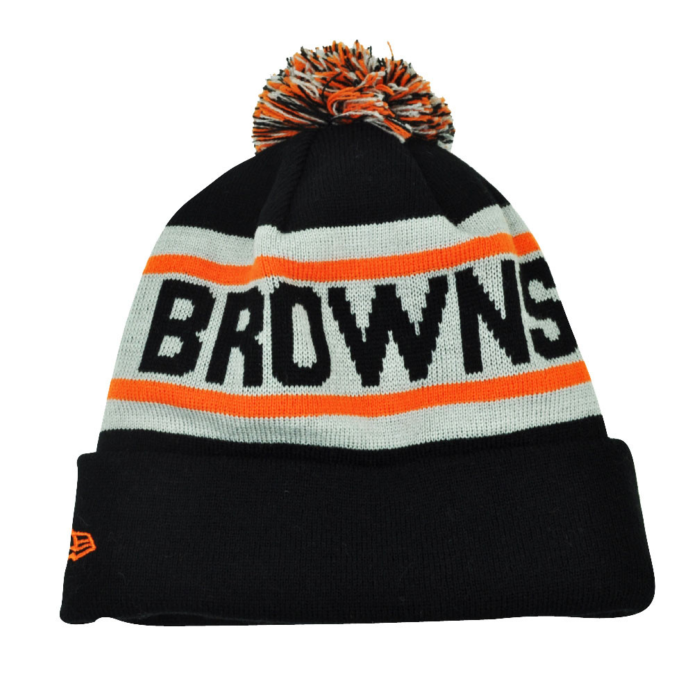 389bf486788 NFL New Era Biggest Fan Pom Pom Striped Cuffed Cleveland Browns Knit ...