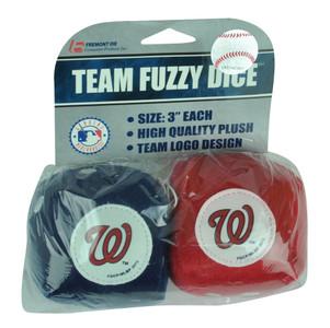 MLB Washington Nationals Soft Fuzzy Dice Plush Red Blue Car Truck Furry Hang