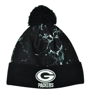 NFL New Era Marble Mix Green Bay Packers Cuffed Knit Beanie Toque Pom Pom Black