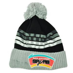 NBA New Era Tone Freeze San Antonio Spurs Beanie Knit Cuffed Pom Pom Hat Grey