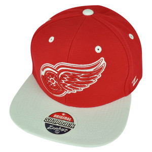 NHL Zephyr Detroit Red Wings 6 Panel Two Tone Flat Bill Snapback White Hat Cap