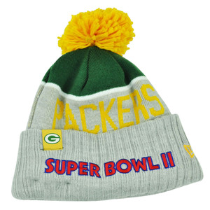 NFL New Era Super Bowl II Sport Knit Green Bay Packers Knit Beanie Cuffed Hat