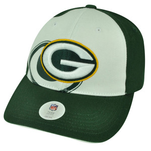 NFL Green Bay Packers Hat Cap White  Overlap Adjustable Two Tone Football