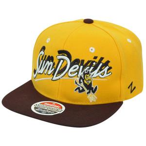 NCAA Arizona State Sun Devils Shadow Script Zephyr Flat Bill Snapback Hat Cap