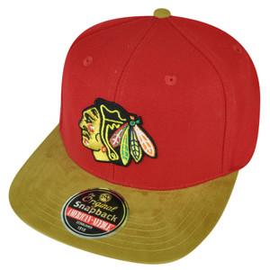 NHL American Needle Chicago Blackhawks Clip Buckle Hat Cap Suede Flat Bill Sport