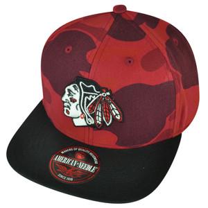 NHL American Needle Chicago Blackhawks Clip Buckle Hat Cap Flat Bill Camouflage