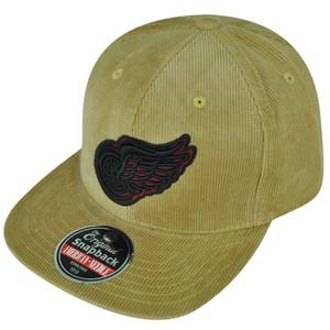 NHL American Needle Detroit Red Wings Corduroy Khaki Snapback Flat Bill Hat Cap