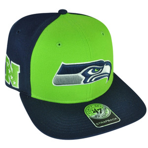 NFL '47 Brand Forty Seven Seattle Seahawks Super Move Strapback Flat Bill Hat Cap