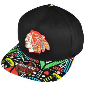 NHL American Needle Chicago Blackhawks Hockey Black Aztec Clip Buckle Hat Cap