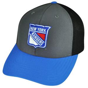 NHL American Needle New York Rangers Snapback Hat Cap Gray Blue Breathable Mesh
