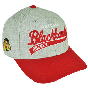 NHL American Needle Chicago Blackhawks Snapback Gray Wool Felt Curved Hat Cap