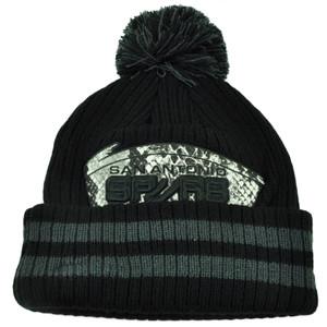 NBA New Era Chiller Filler San Antonio Spurs Knit Beanie Black Cuffed Hat Pom