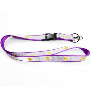 NBA Los Angeles Lakers Detachable Clip Key Chain Landyard Glitter ID Sparkle