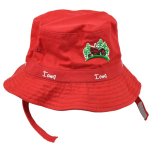 Iowa Gem State Red Toddler Sun Bucket Crusher Hat USA America Tractor Chin Strap