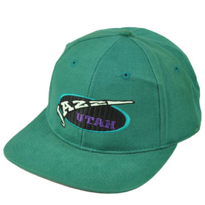 Utah Jazz Dead Stock Vintage Old School Snapback Hat Cap Green Mens Basketball
