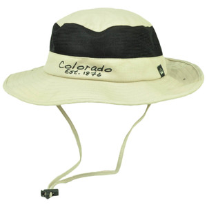 Colorado State Beige Booney Sun bucket Hat Chin Strap Mesh Band Outdoors USA