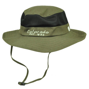 Colorado State Brown Booney Sun bucket Hat Chin Strap Mesh Band Outdoors USA
