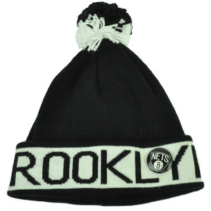 Mitchell Ness Brooklyn Nets Cuffed Pin Pom Pom Knit Beanie Skully Black White