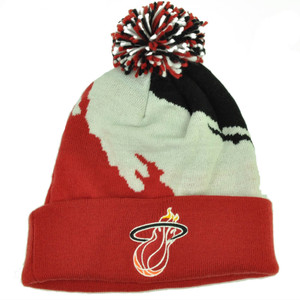 Mitchell Ness KK40 Miami Heat Cuffed Pom Pom Knit Beanie Skully Basketball Red
