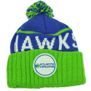 Mitchell Ness Atlanta Hawks Cuffed Pom Pom Knit Beanie Skully Blue Green Winter