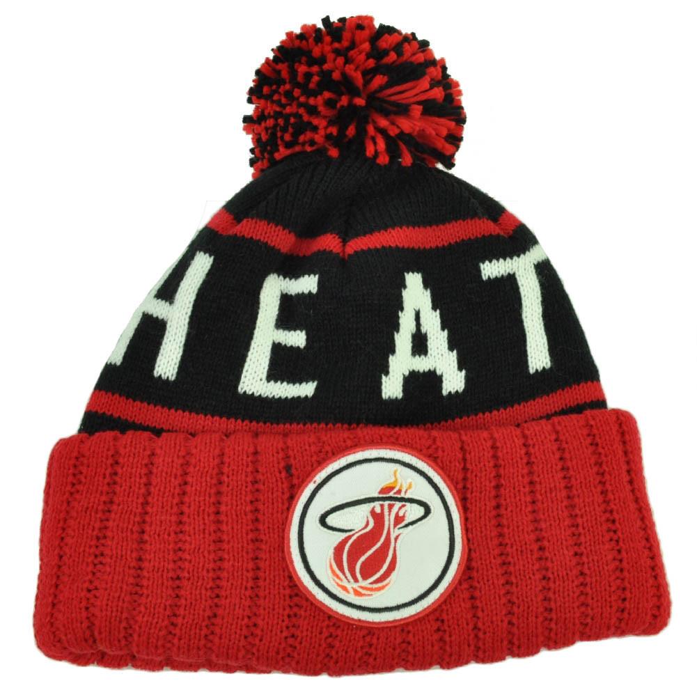 32649283584 Mitchell Ness BKRD Miami Heat Cuffed Pom Pom Knit Beanie Skully ...