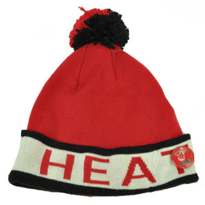 Mitchell Ness Miami Heat Cuffed Pin Pom Pom Knit Beanie Skully Red Black Winter