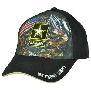 U.S Army Strong Sublimated Hat Cap Black Military Defending Liberty Adjustable