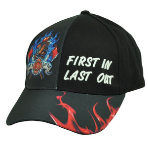First In Last Out Fire Fighter Rescue Sublimated Hat Cap Black Adjustable